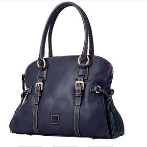 Domed Buckle Satchel NAVY Leather.